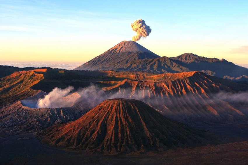 Aerial view of several large volcanoes in Bromo National Park, Java, Indonesia