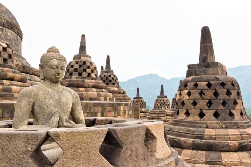 Aerial view of large Borobudur Buddhist temple showing architecture in Indonesia