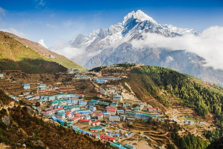 Aerial view of Namche Bazar in the Himalayan region of Nepal