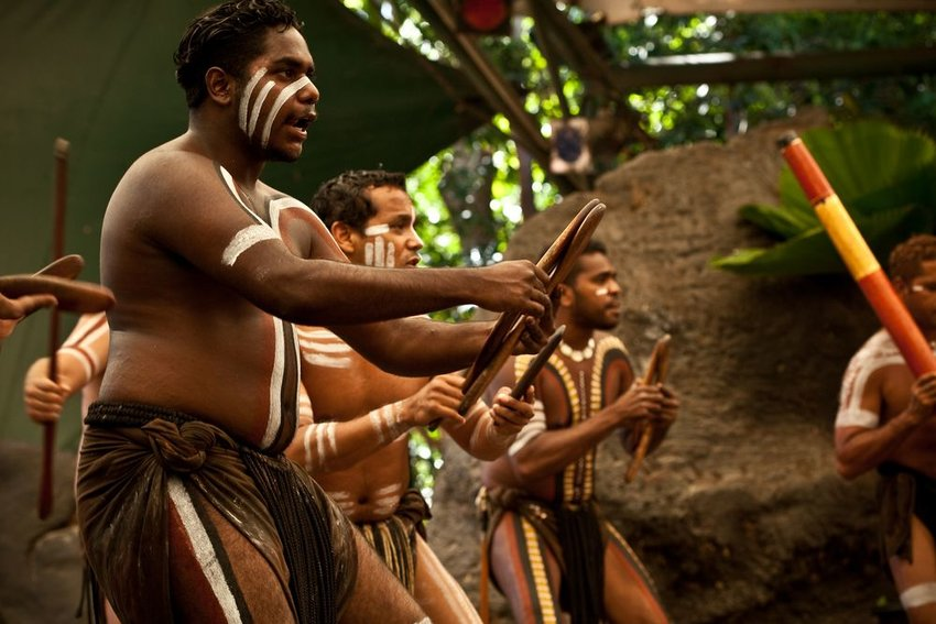 Aboriginal actors at a performance in the Tjapukai Culture Park, Queensland, Australia