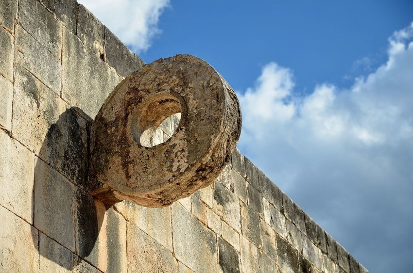 Stone ring sticking out of a wall, used for traditional Mayan sports