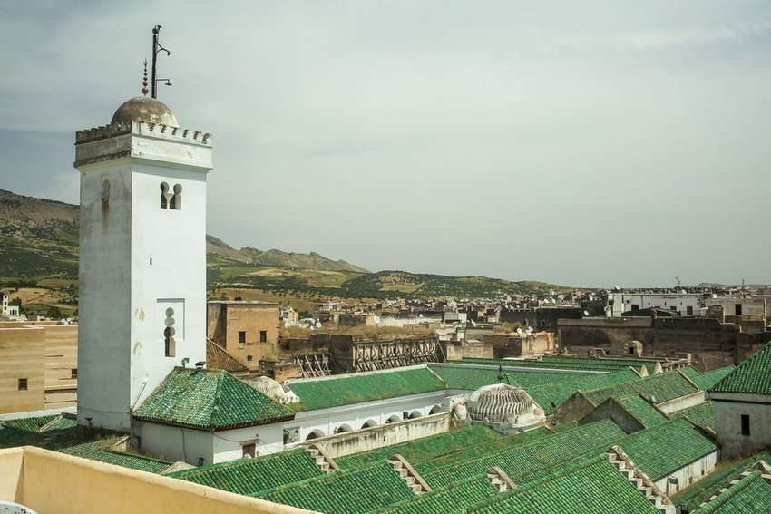 Iconic green roof of the University of Al-Karaouine in Fes, Morocco