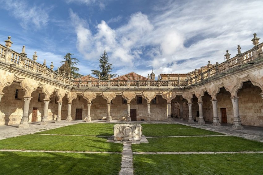 Inner cloister of University of Salamanca grounds in Castilla-Leon, Spain