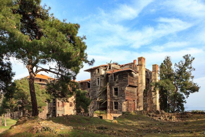 Historic Prinkipo Greek Orthodox Orphanage building in disrepair