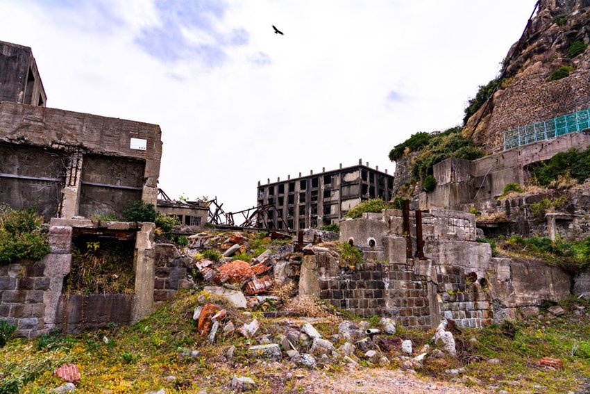Abandoned buildings and debris in Hashima Island, Japan