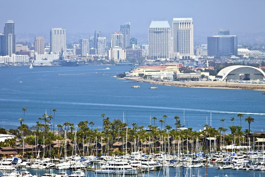 Aerial view of San Diego, California with skyscrapers and beaches
