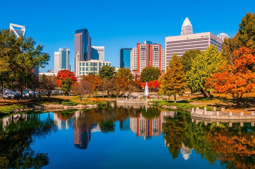 Scenic landscape with skyscrapers and glassy waters in Charlotte, North Carolina
