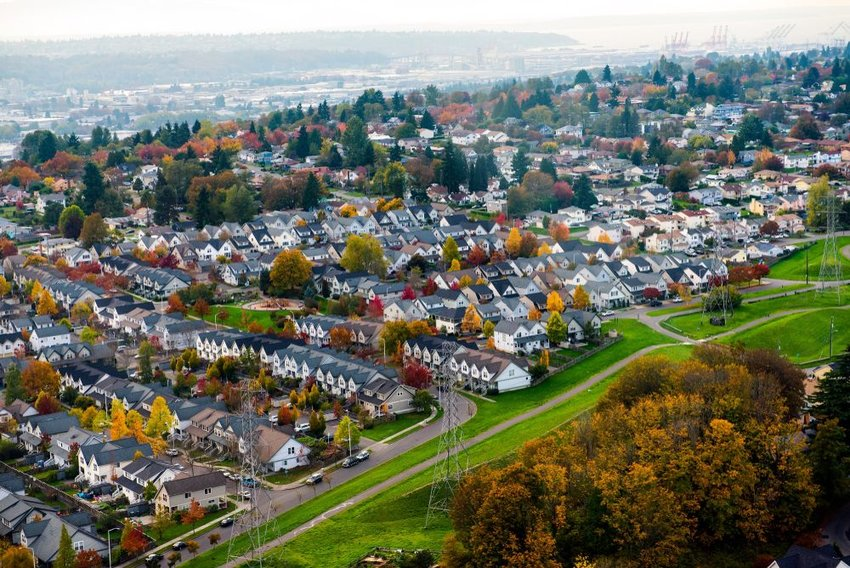 Aerial view of sprawling suburban homes in Seattle, Washington