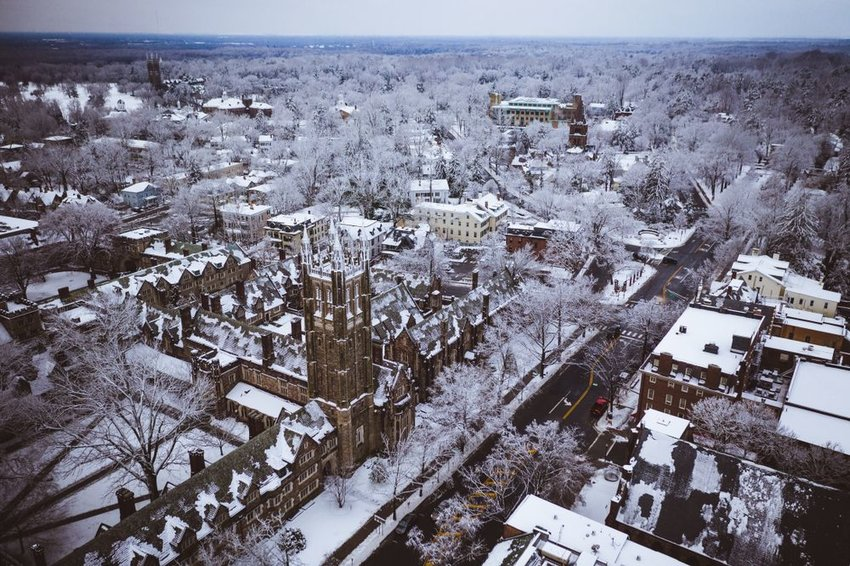 Aerial view of snowy landscape and university in Princeton, New Jersey