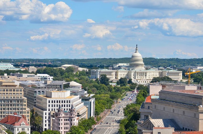 Aerial view of Washington D.C. showing iconic U.S. Capitol Building