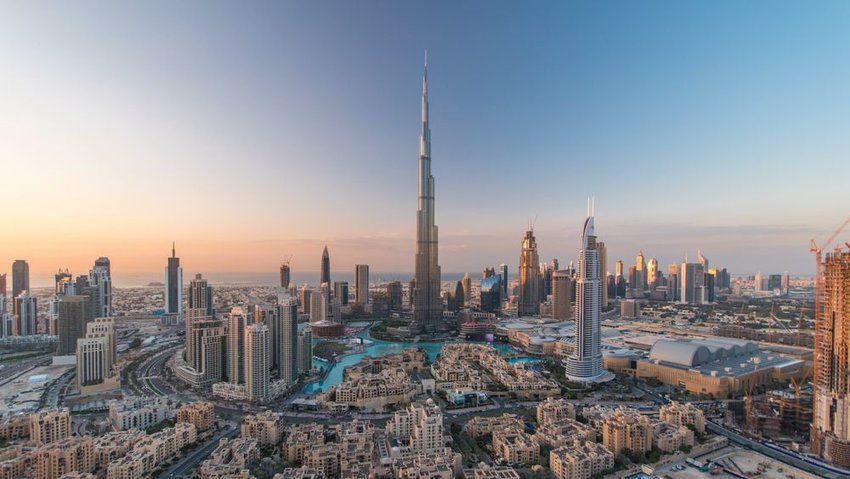 Aerial view of tall Burj Khalifa tower, seen in Dubai