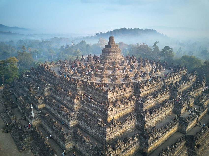 Aerial view of scenic Borobudur temple and architecture in Indonesia