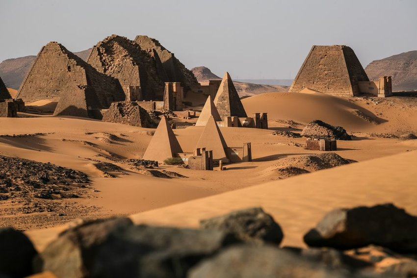 Distant view of Meroë Pyramids and ancient rock architecture in Sudan