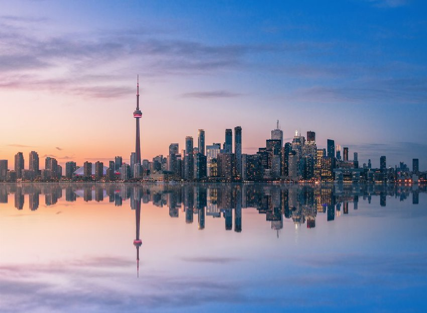 Toronto Skyline at sunset with reflection
