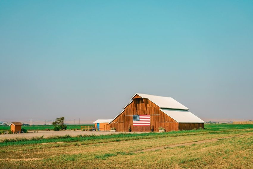 Large barn on farm in the midwest
