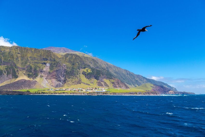 View of Tristan de Cunha on island