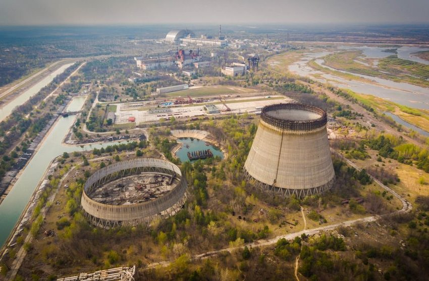Aerial view of nuclear reactors