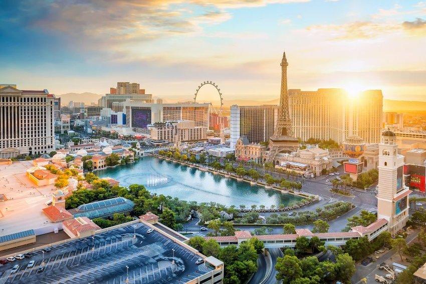 Skyline of Las Vegas at sunrise
