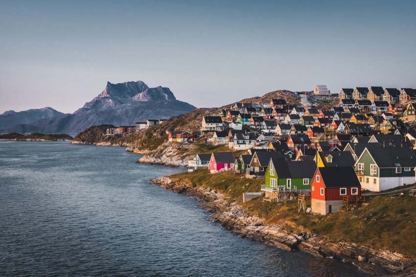 Colorful homes on the coast