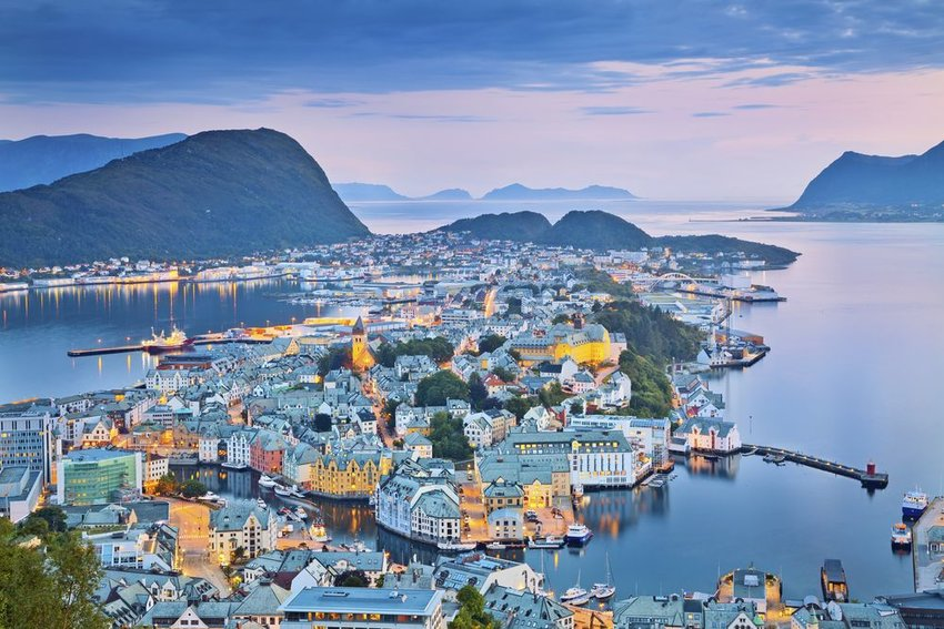 Alesund, Norway during the blue hour