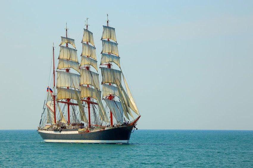 Tall ship in the ocean