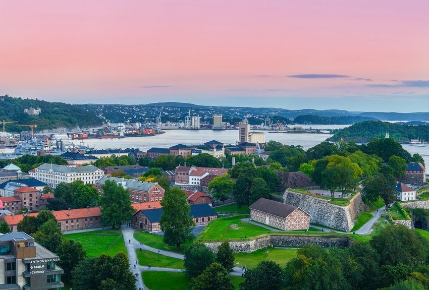 Aerial view of Oslo, Norway at sunset