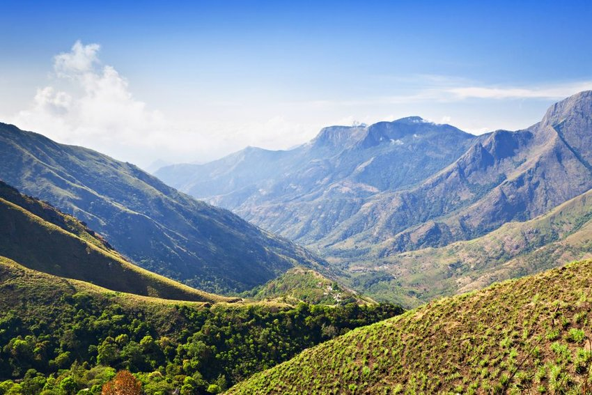 View from Munnar to Tamil Nadu, India