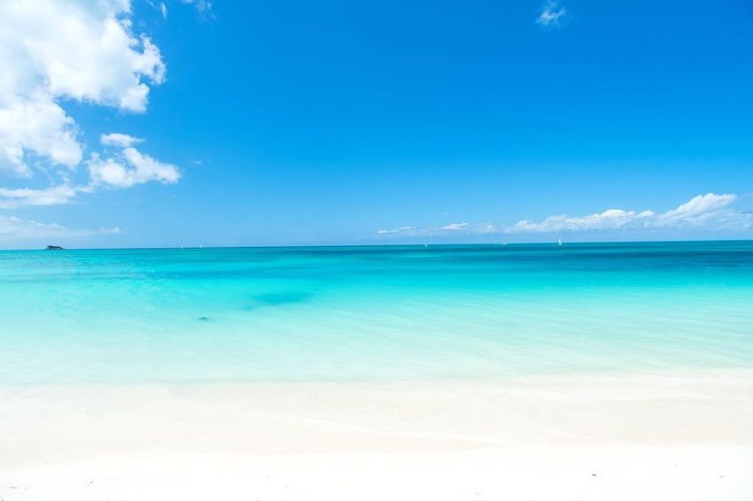 Clear blue water off the beach in the Caribbean Sea