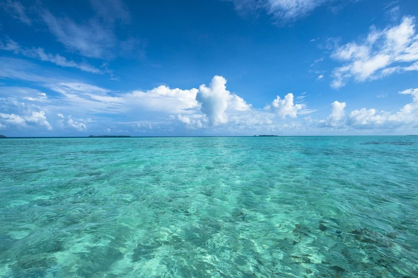 Clear, blue waters of the Pacific Ocean