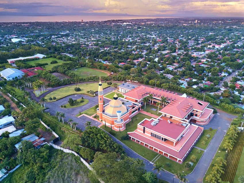 Aerial view of Managua at sunset