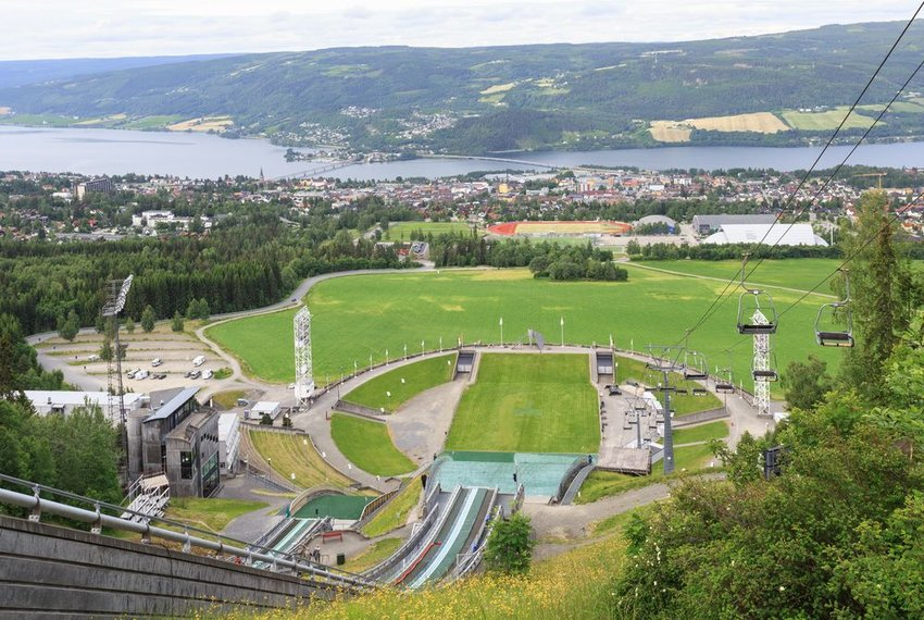 Lillehammer, Norway as seen from the top of a ski jump
