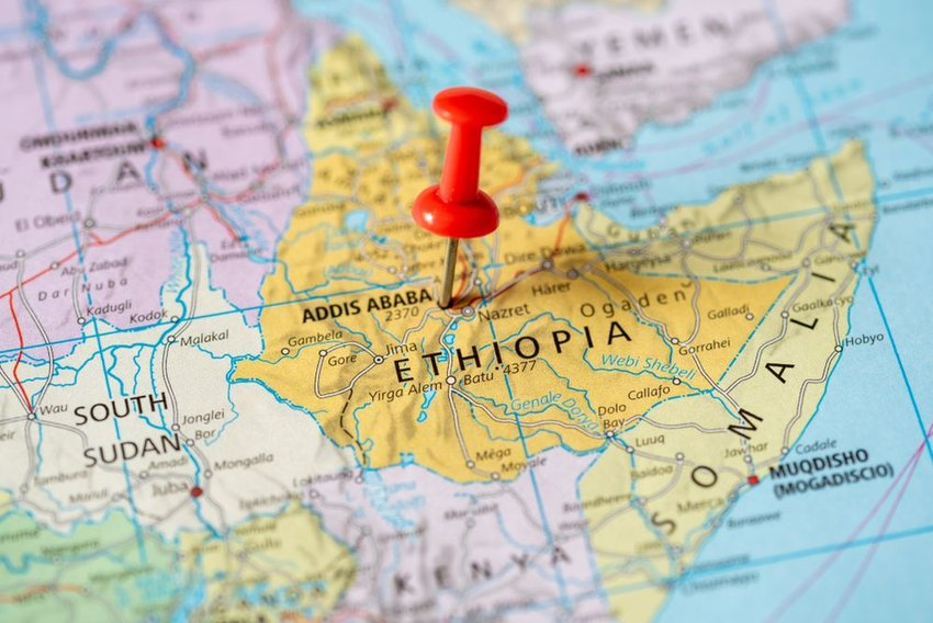 Up close view of Africa on map, showing horn of Africa and red pushpin marking Ethiopia
