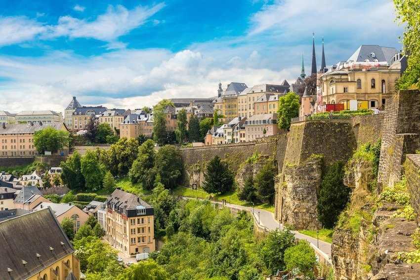 Aerial view of old Luxembourg architecture and greenery