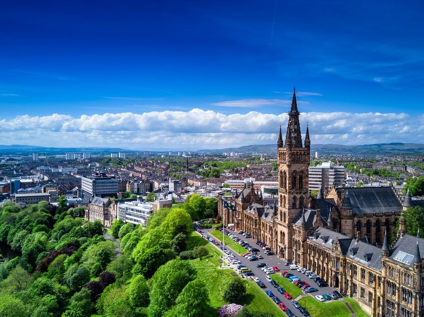 Aerial view of cityscape and architecture in Glasgow, Scotland