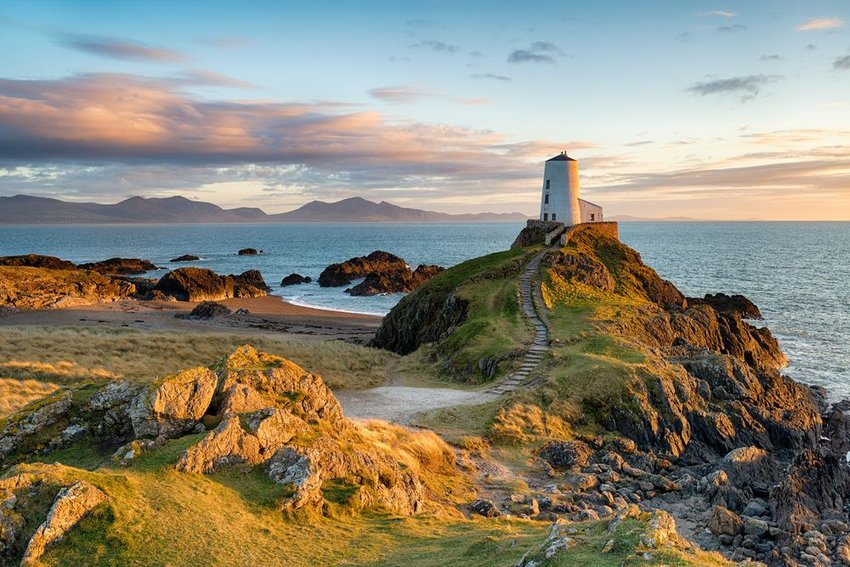 Aerial view of Ynys Llanddwyn island in north Wales, seen at sunset