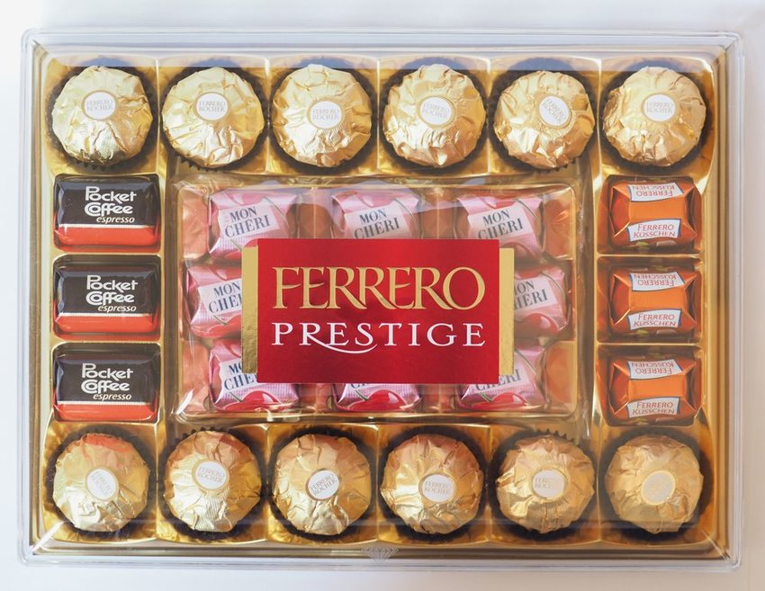 Traditional Ferrero chocolate package with pocket coffee pieces inside
