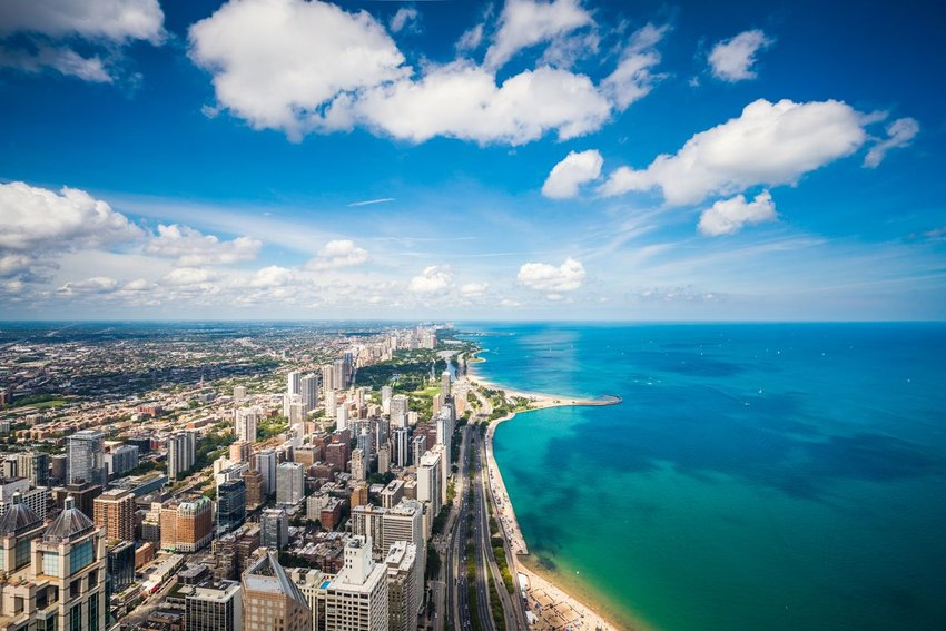 Aerial view of Lake Michigan and the city