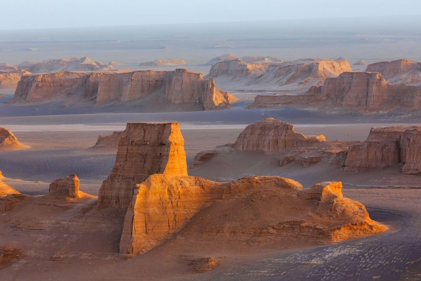 Sand towers of Kaluts in the Dasht-e-Lut desert