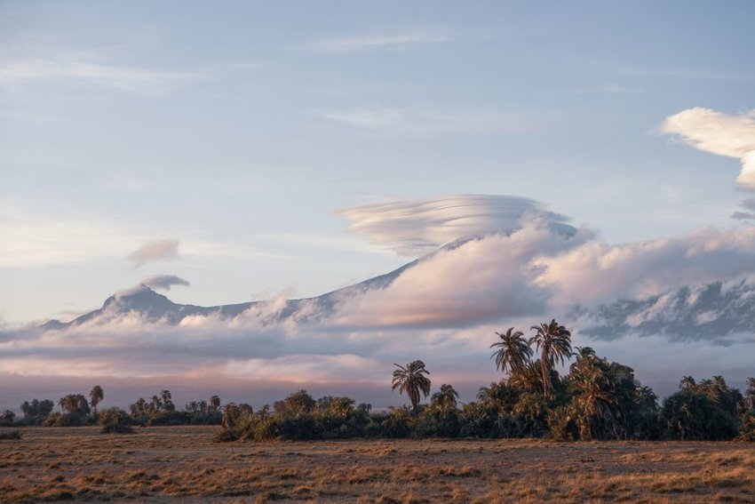 Mt. Kilimanjaro with low clouds