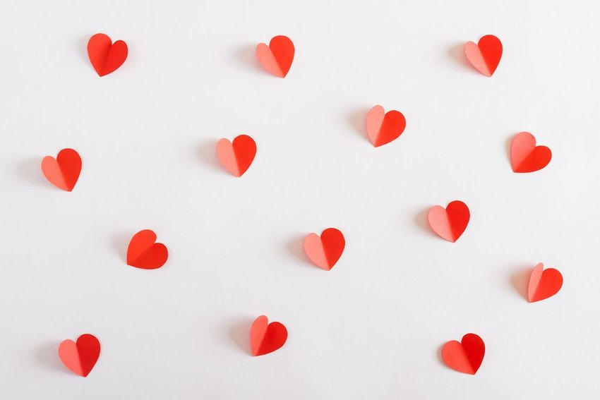Little paper cut outs of hearts
