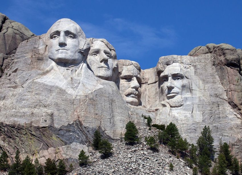 Mount Rushmore National Monument seen from the ground in South Dakota