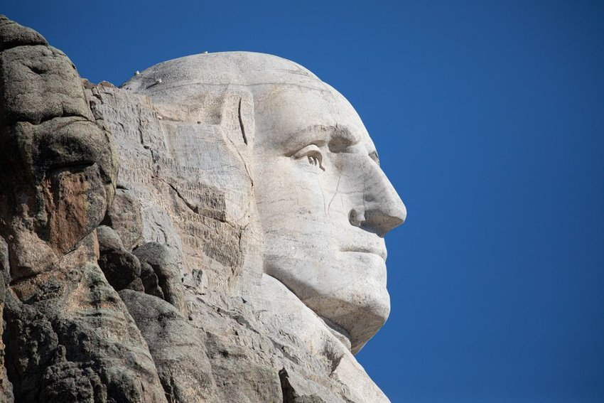 Profile of George Washington's face carved in stone at the Mount Rushmore monument