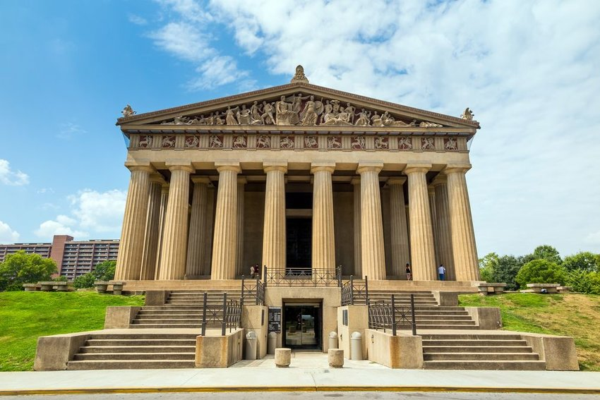 Up close view of Nashville Parthenon showing replica of ancient Greek architecture