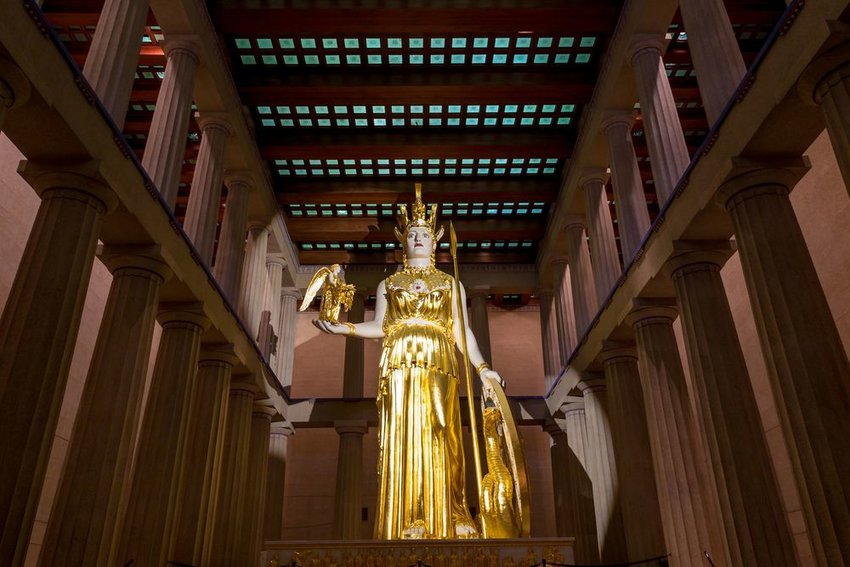 Interior view of Nashville's replica Parthenon showing statue of Goddess Athena inside