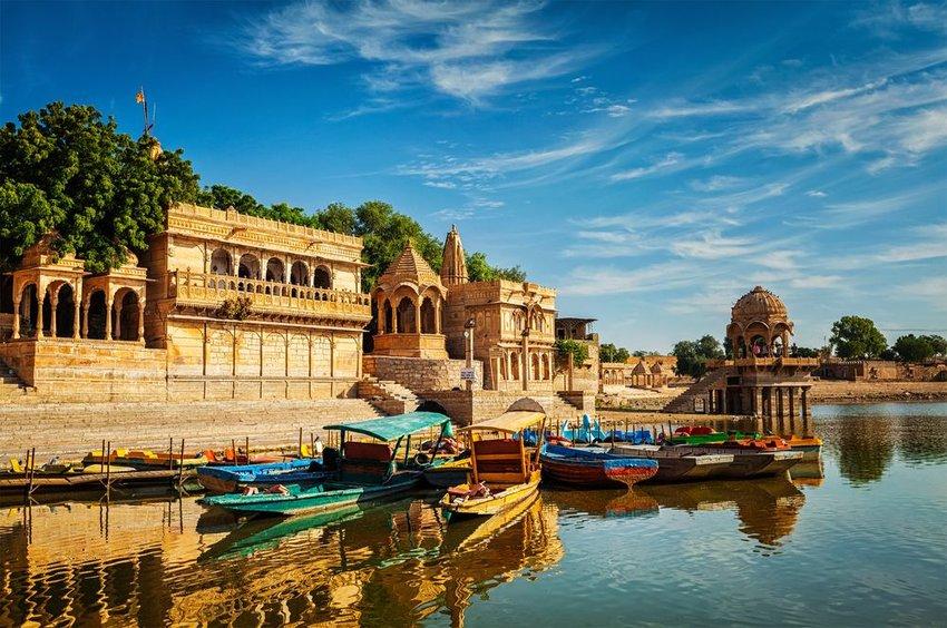 Aerial view of the Gadi Sagar artificial lake and buildings, Jaisalmer, Rajasthan, India