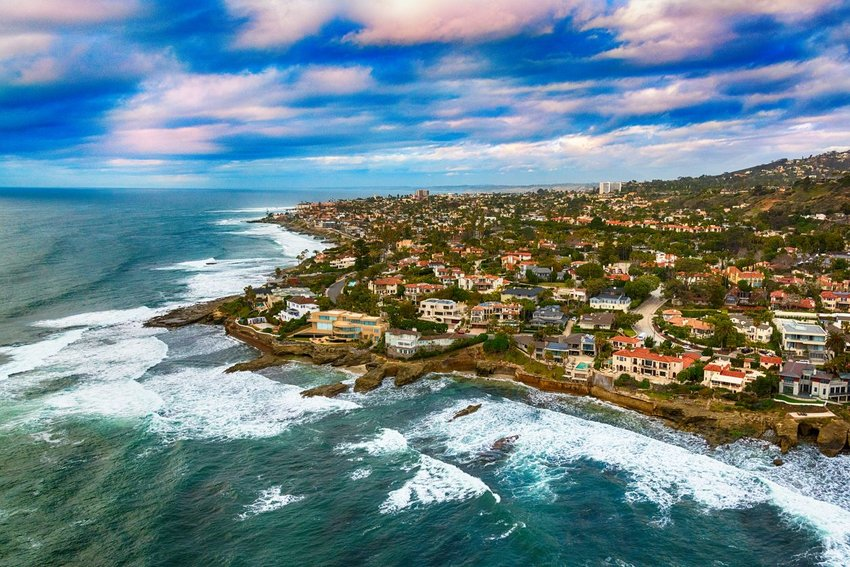 Aerial photo of La Jolla on the coast in California