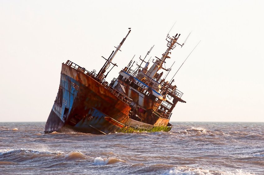 Shipwreck in the ocean