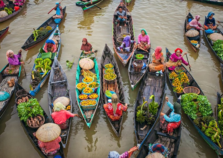 Traditional Floating Market at Lok Baintan, Indonesia