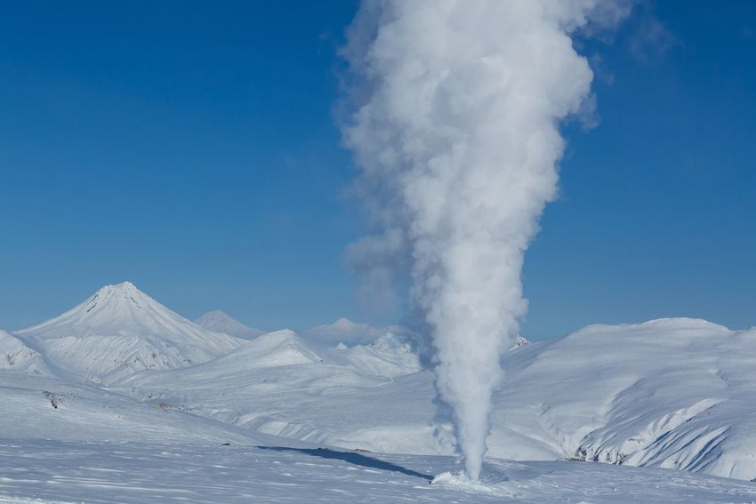 Viluchinsky volcano surrounded by snow