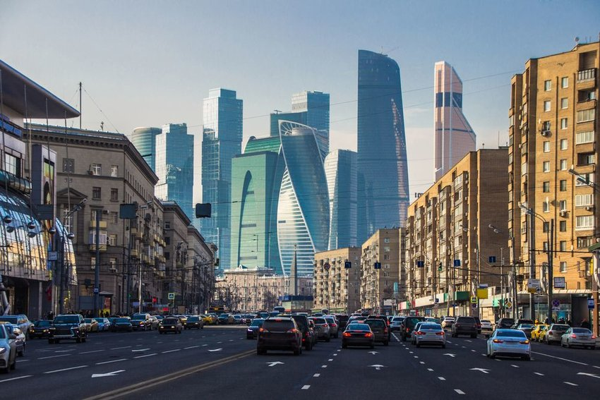 Moscow, Russia with street traffic in springtime